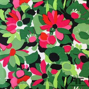 Floral Stretch Silk & Cotton - Green/Multicolor