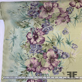 Floral Border Printed Silk Crepe de Chine - Pale Blue/Green/Purple