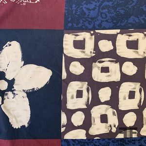 Patchwork Printed Silk & Cotton - Navy/Tan/Maroon