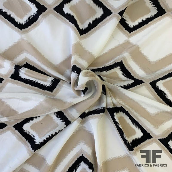Geometric/Chevron Silk Crepe de Chine - Off-White/Biege/Black