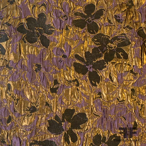 Metalllic Floral High-Ruche Brocade - Purple/Gold