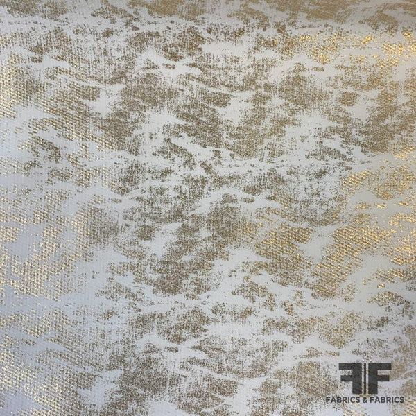 Italian Metallic Gold Foil Printed Neoprene - White/Gold