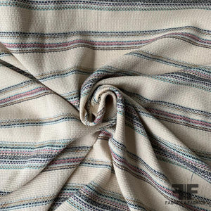 Striped Basket-Woven Cotton Blend Linen - Cream/Multicolor