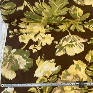 Floral Printed Linen - Green/Yellow/Brown