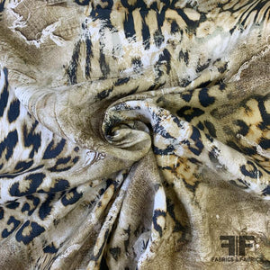 Cheetah/Jean Printed Linen - Beige/Brown