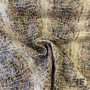 Laminated Animal Printed Heavy Linen - Beige/Brown