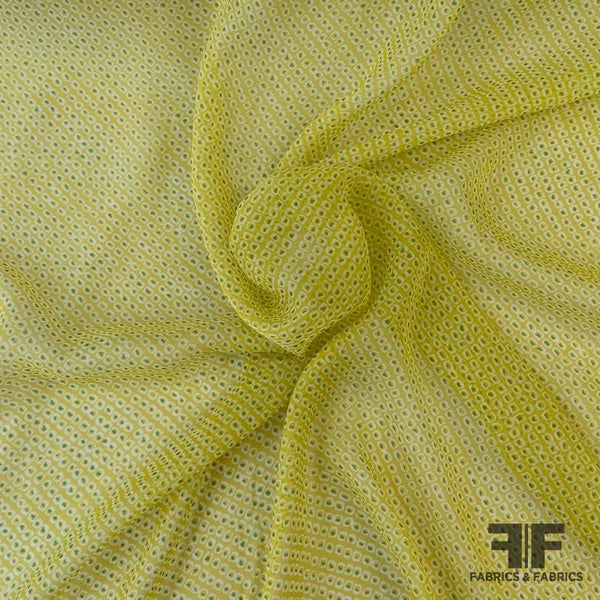 Birds Eye Geometric Silk Chiffon - Lemon Yellow
