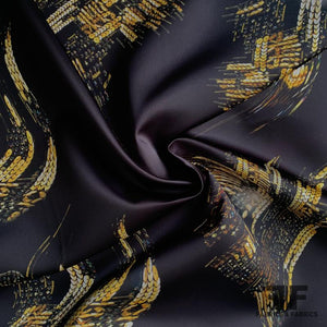 Italian Sequin Printed Poly Satin - Black/Multicolor