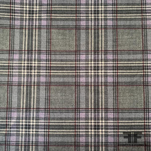 Italian Plaid Double-Faced Poly Satin - Grey/Multicolor