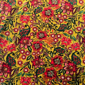 Paisley Floral Stretch Velvet - Yellow/Multicolor