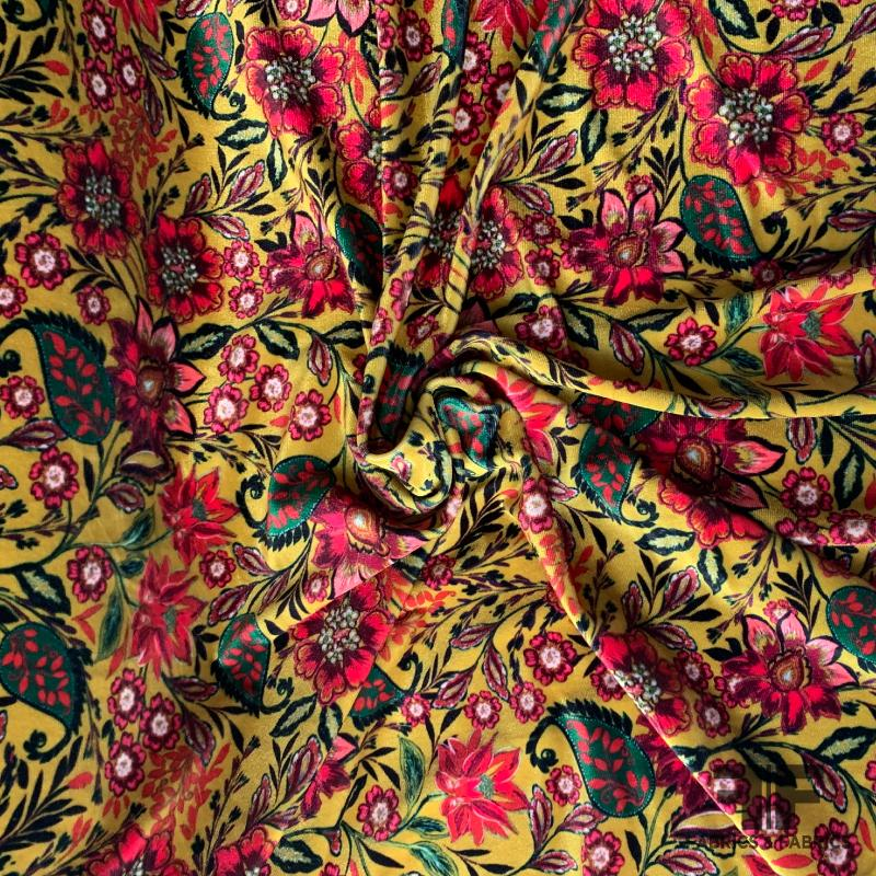 Paisley Floral Polyester Stretch Velvet - Yellow/Multicolor