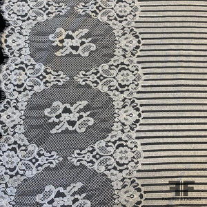 Border Floral Striped Lace - Ivory