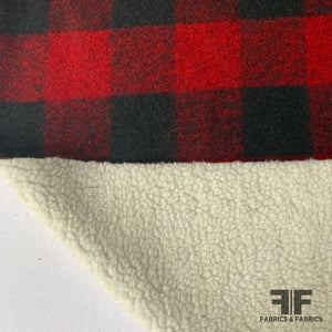 Buffalo Plaid with Sherpa Backing Wool-Like Coating - Red/Black/White