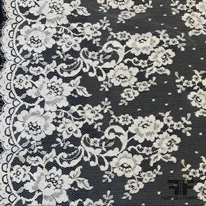 French Floral and Polka Dot Chantilly Lace with Double Border - White