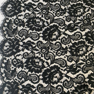 French Floral Finely Corded Chantilly Lace - Black