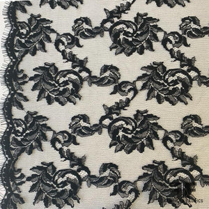 French Swirl Floral Chantilly Lace - Black