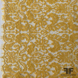 Ornate French Finely Corded Chantilly Lace - Mustard Yellow