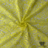 French Floral Finely Corded Chantilly Lace - Bright Yellow