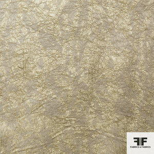 Crinkled Metallic Brocade - Gold/White Gold - Fabrics & Fabrics NY