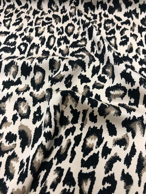 Leopard Heavy Stretch Printed Silk Georgette - Black/Taupe/Beige