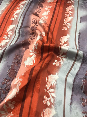 Striped Floral Printed Silk Jacquard - Coral/Lavender/Light Blue