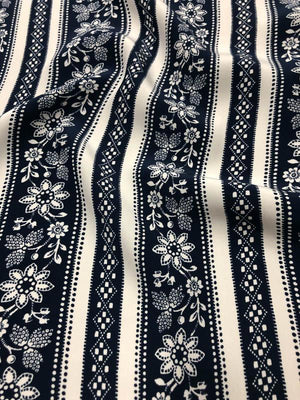 Striped Floral Matte Printed Silk Charmeuse - Navy/White