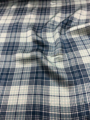 Plaid Printed Silk Charmeuse - Blue/Light Blue