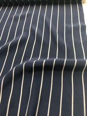 Striped Matte Printed Silk Charmeuse - Navy/Grey