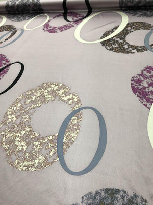 Circles Hammered Printed Silk Charmeuse - Light Purple / Multicolor