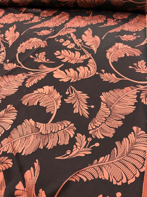 Leaves Printed Silk Charmeuse - Maroon / Brick