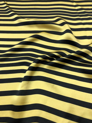 Striped Printed Silk Charmeuse - Yellow / Black