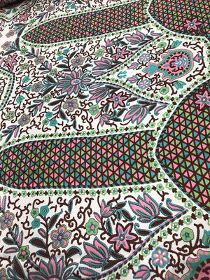 Ornate Floral Geometric Printed Silk Charmeuse - Multicolor