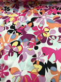 Groovy Floral Butterfly Printed Silk Charmeuse - Pink / Multicolor