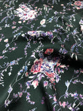 Pre-Washed Floral Bouquet Printed Silk Charmeuse - Navy / Pink