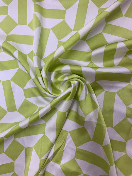 Geometric Art Deco Printed Silk Charmeuse - Lime Green / Off-White