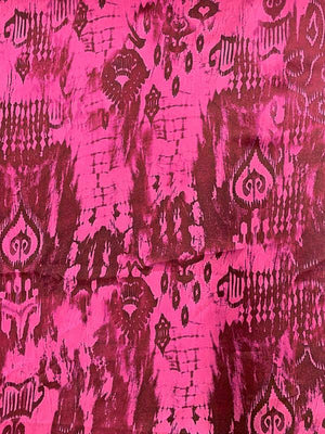 Abstract Ikat Printed Silk Charmeuse - Magenta / Maroon