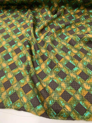 Crosshatch Printed Silk Jacquard - Brown / Green