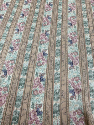 Vintage Inspired Striped Floral Crinkled Printed Silk Charmeuse - Tan / Multicolor