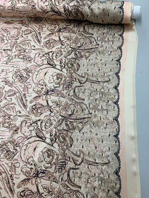 Painterly Floral Lace Printed  Silk Charmeuse  -  Tan / Pink / Brown
