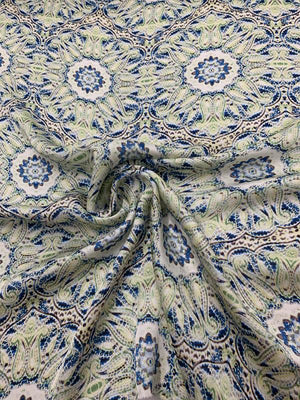 Mosaic Paisley Floral Printed Satin Silk Georgette  -  Blue / White / Green