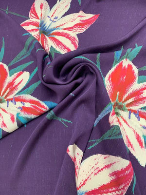 Large-Scale Floral Lily Stretch Printed Silk Georgette - Purple / Multicolor