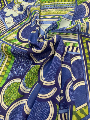 Groovy Geometric Collage Stretch Printed Silk Chiffon - Blue / Green