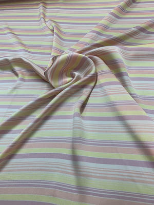 Cotton Candy Striped Printed Silk Charmeuse - Yellow / Pink / Purple