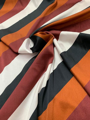Diagonal Striped Stretch Printed Silk Charmeuse - Brown / White / Black