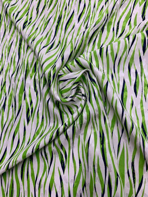 Swiss Wavy Printed Silk Jacquard - Green / Navy / White