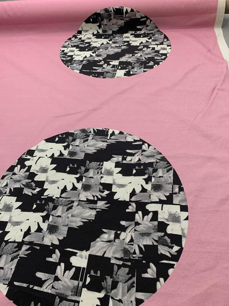 Italian Mod Large Scale Circles Faille Printed Cotton - Pink / Black / White