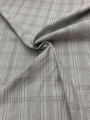 Italian Stripey-Plaid Stretch Cotton Suiting - Grey / Blue