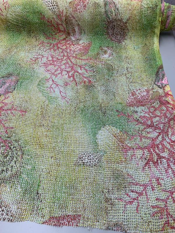 Nautical Open Weave Sparkly Printed Linen - Green / Red / Multicolor