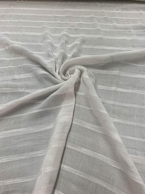 Italian Striped Jacquard Cotton - White