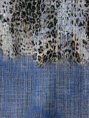Italian Stretch Denim Leopard Panel Printed Cotton - Blue / Black / Brown